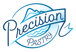 Precision Pastry Logo - circular blue with mountain and water line work