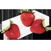 Strawberry & Cream Cheese icon - block of cream cheese with three strawberries